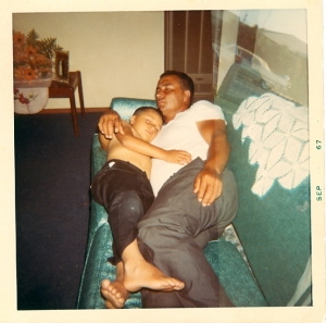 Grandpa taking a nap with my Tio Navi in 1967.